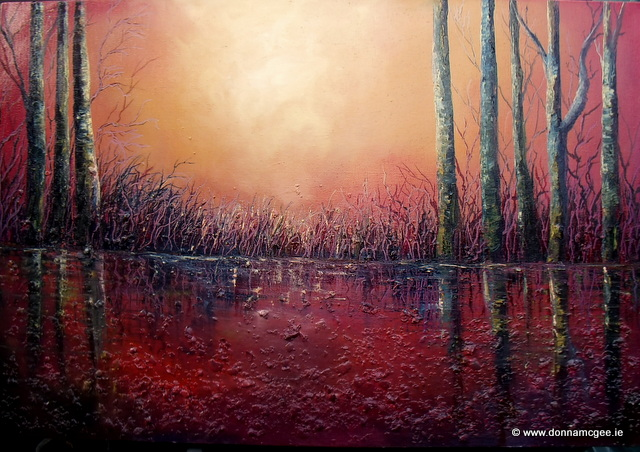 "burning light of the setting sun re-ignites the dormant marshlands oil painting Evening Glow - Oil based mixed media on block canvas 24 x 36"" © www.donnamcgee.ie"