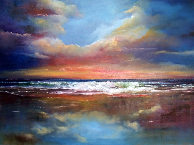 Between Earth and Sky , clouds reflecting on a colourful beach scene
