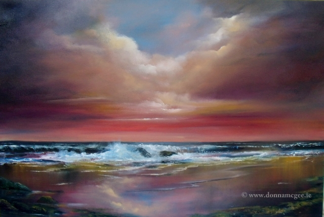 Harmony Greeting card, waves rolling into shoreline, pink sky