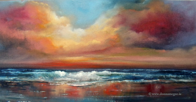 Orchestral Skies greeting card - waves rolling into shore, colourful skyline